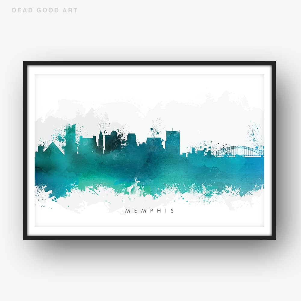 memphis skyline green watercolor print