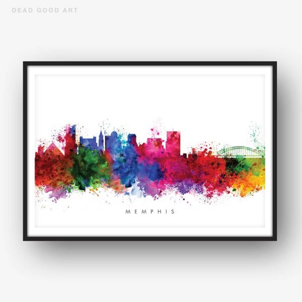 memphis skyline multi color watercolor print