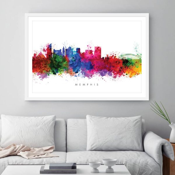memphis skyline multi color watercolor print framed