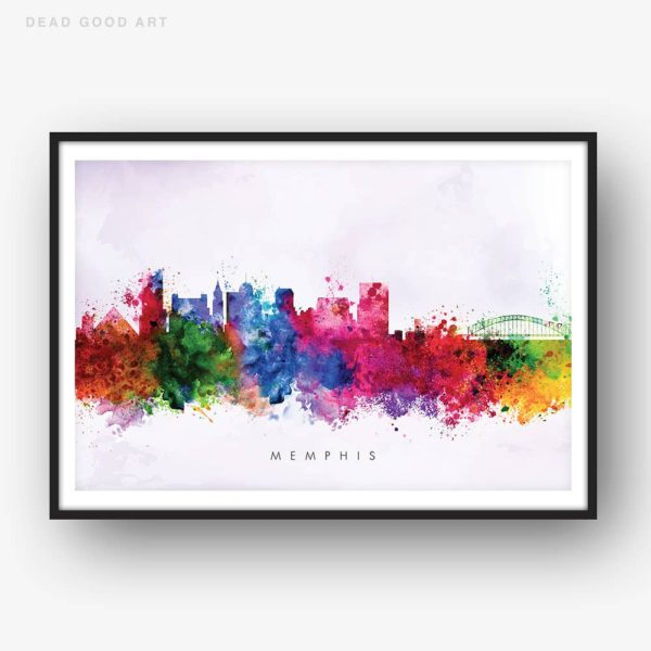 memphis skyline purple wash watercolor print