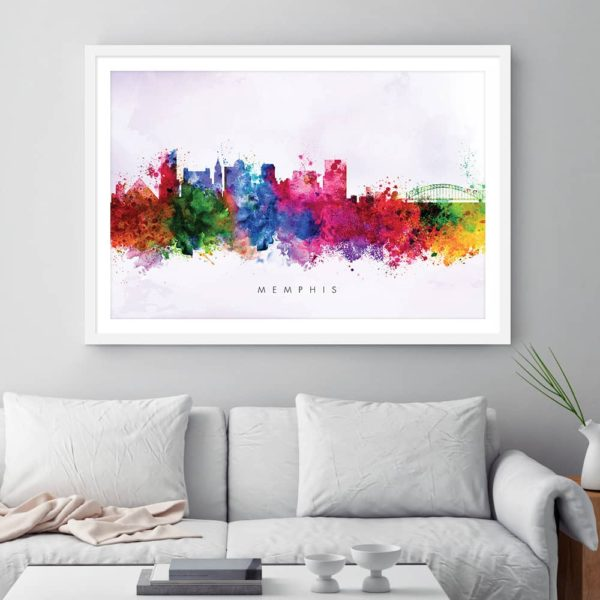 memphis skyline purple wash watercolor print framed