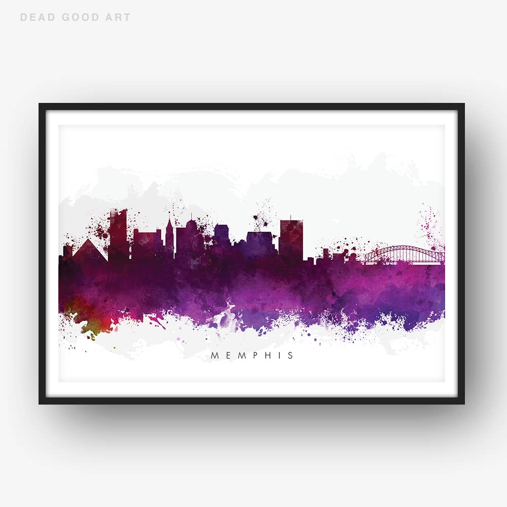 memphis skyline purple watercolor print