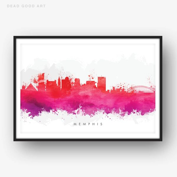 memphis skyline red watercolor print