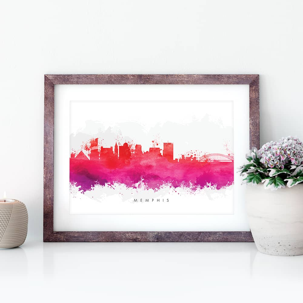 memphis skyline red watercolor print closeup