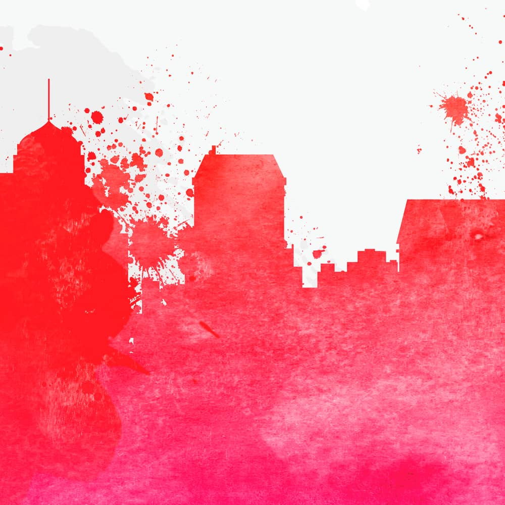 memphis skyline red watercolor print detail