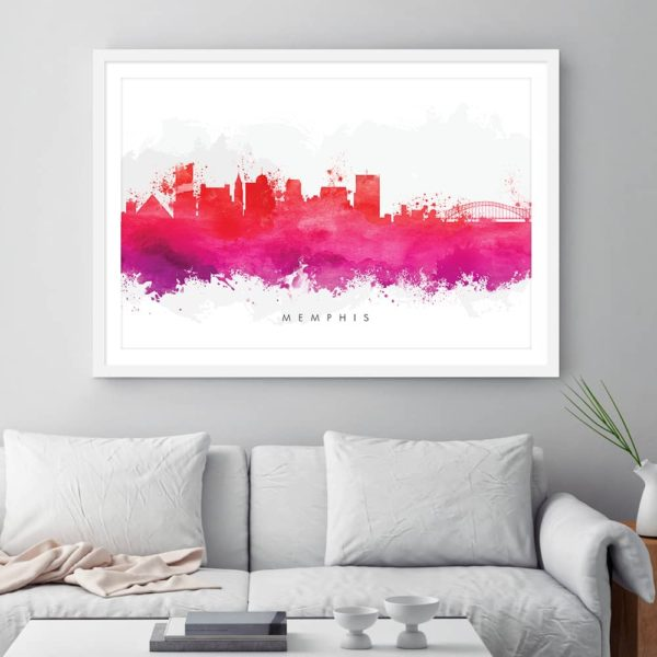memphis skyline red watercolor print framed