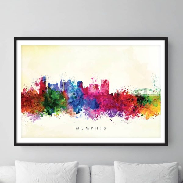 memphis skyline yellow wash watercolor print