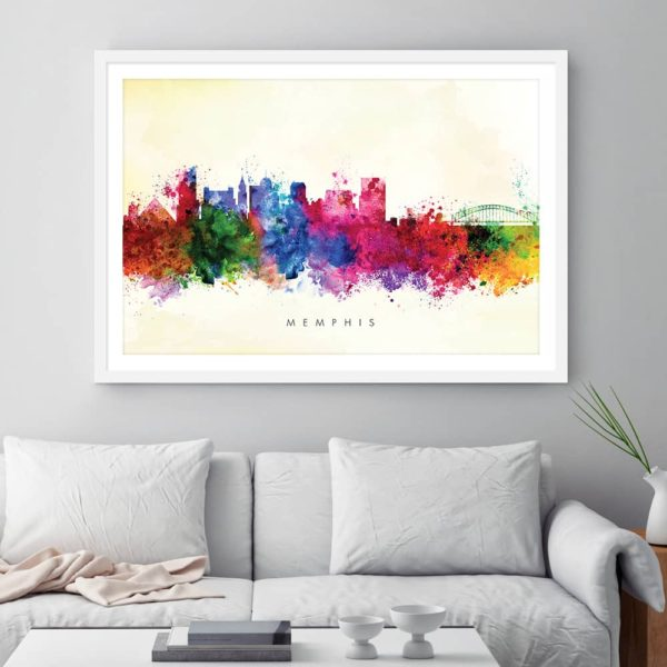 memphis skyline yellow wash watercolor print framed