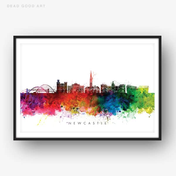 newcastle skyline multi color watercolor print