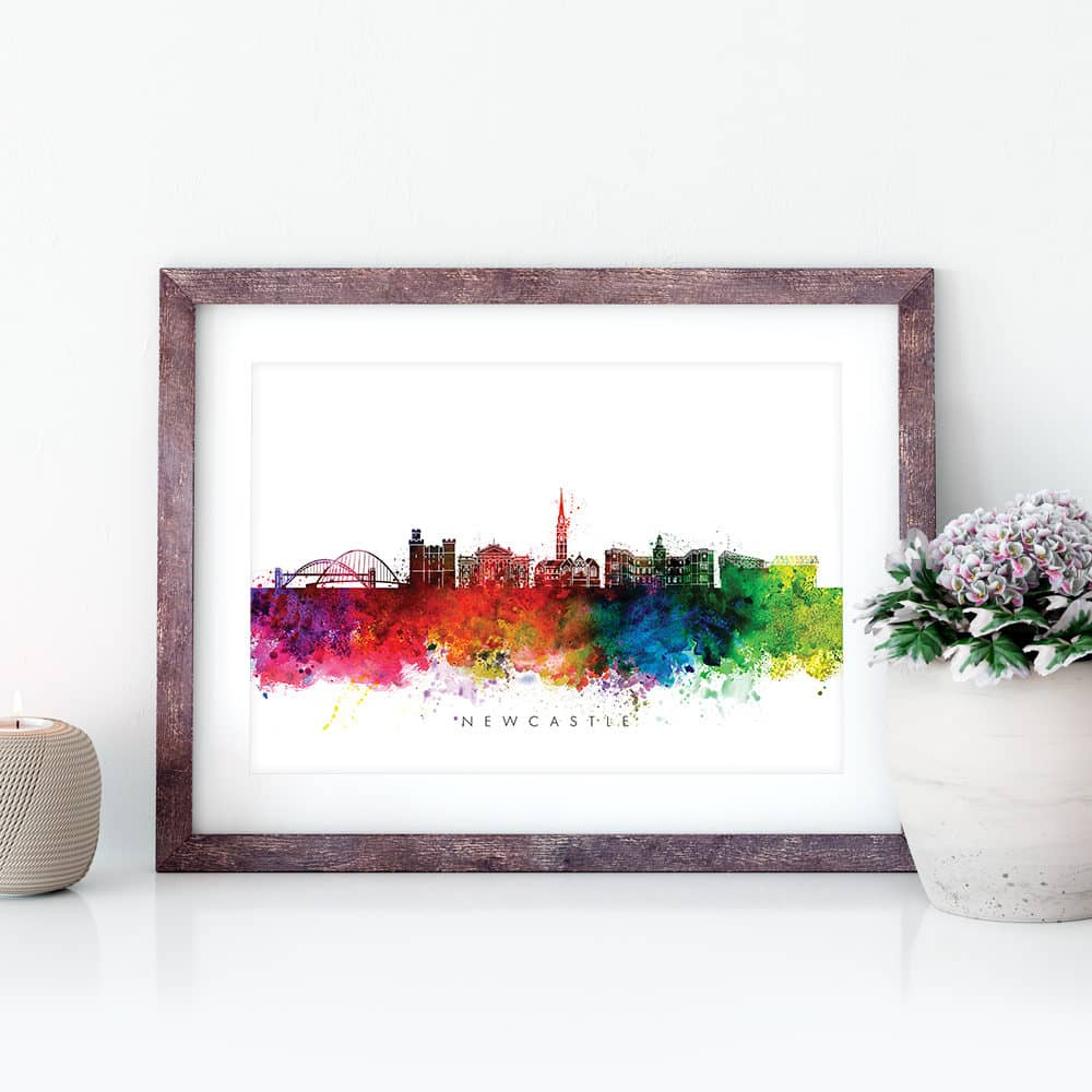 newcastle skyline multi color watercolor print closeup