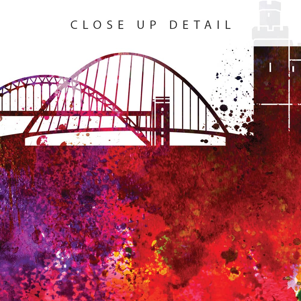 newcastle skyline multi color watercolor print detail