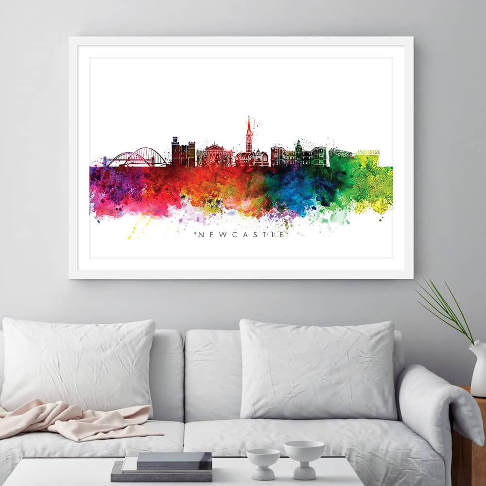 newcastle skyline multi color watercolor print framed