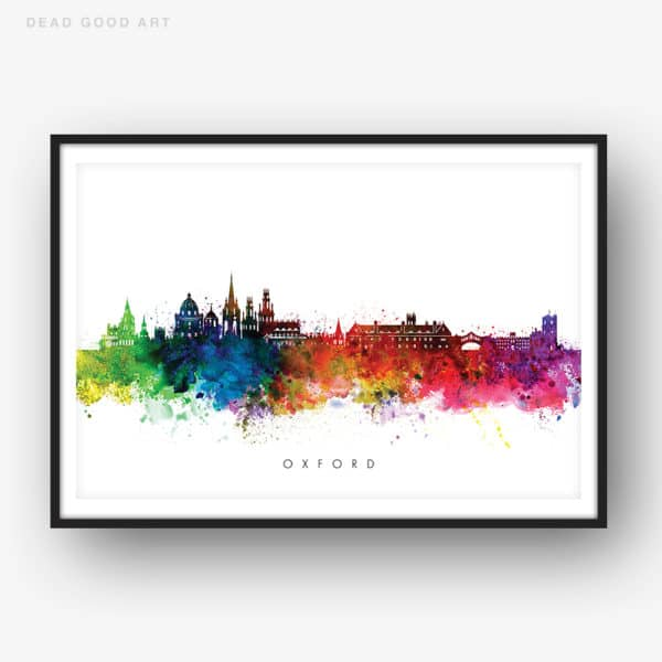 oxford skyline multi color watercolor print