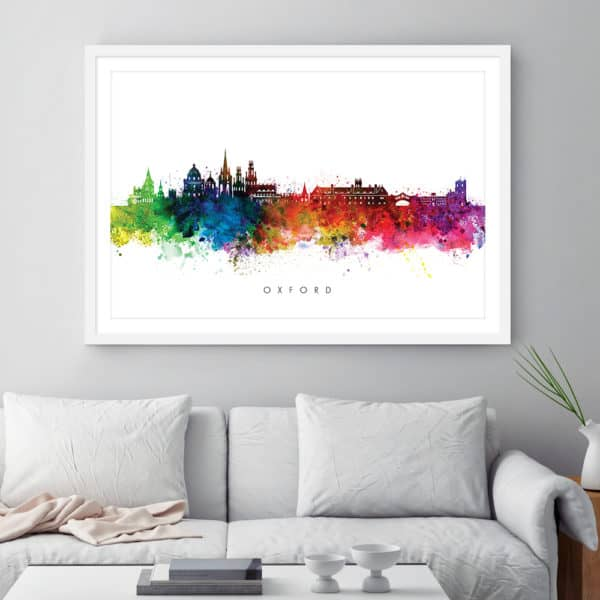 oxford skyline multi color watercolor print framed