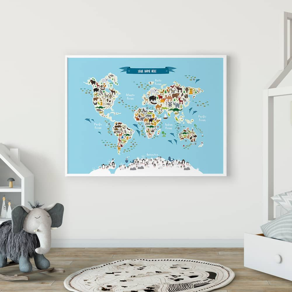 Animal World Map Print Blue Childrens Map of the World Framed