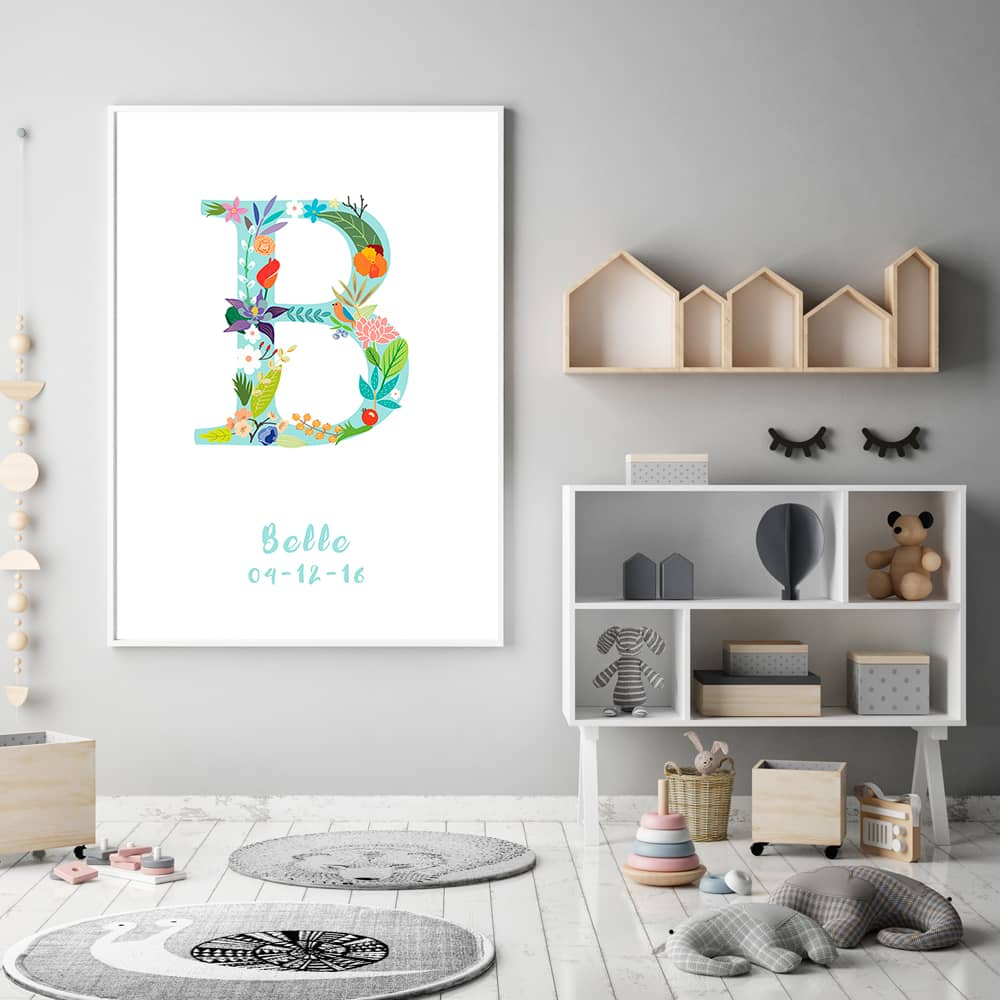 Floral Art B Personalized Name Print framed