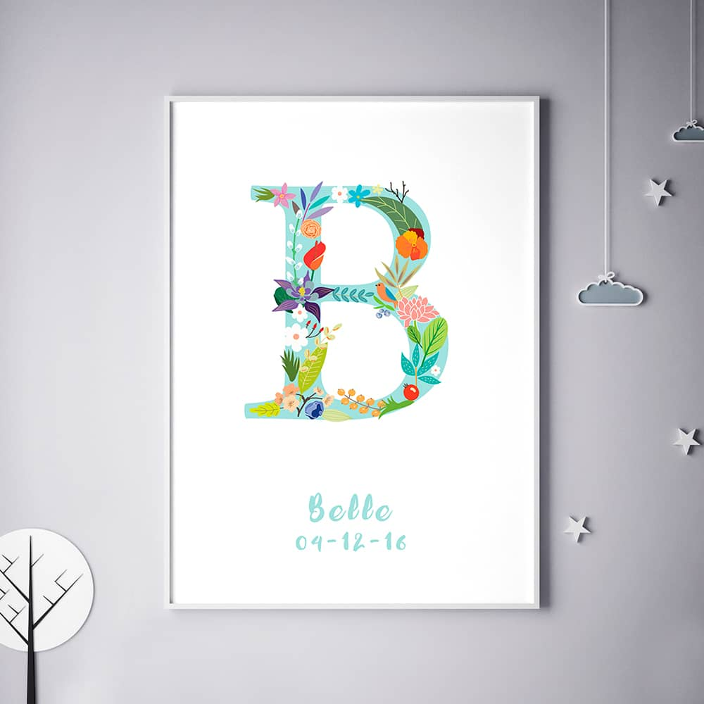 Floral Art B Personalized Name Print wall art