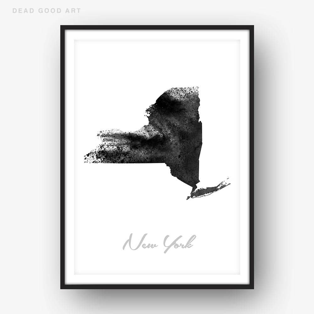 New york State Map black white Watercolor Print
