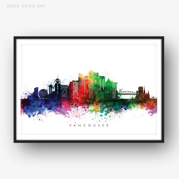 Vancouver skyline multi color watercolor print