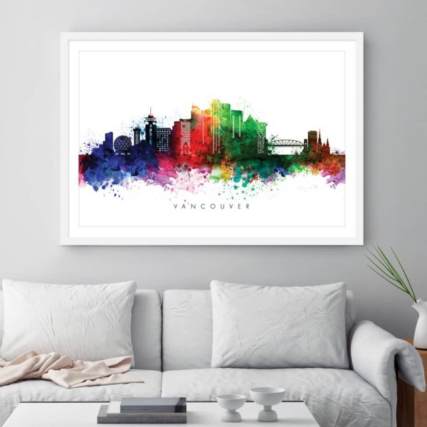 Vancouver skyline multi color watercolor print framed