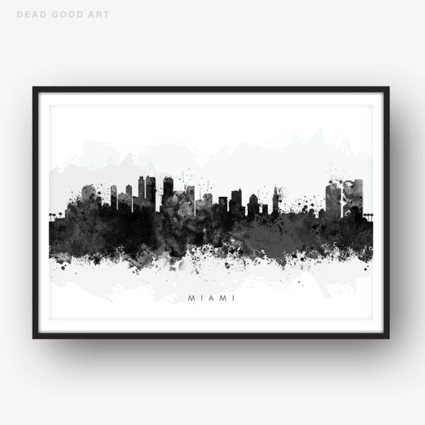 miami skyline black white watercolor print