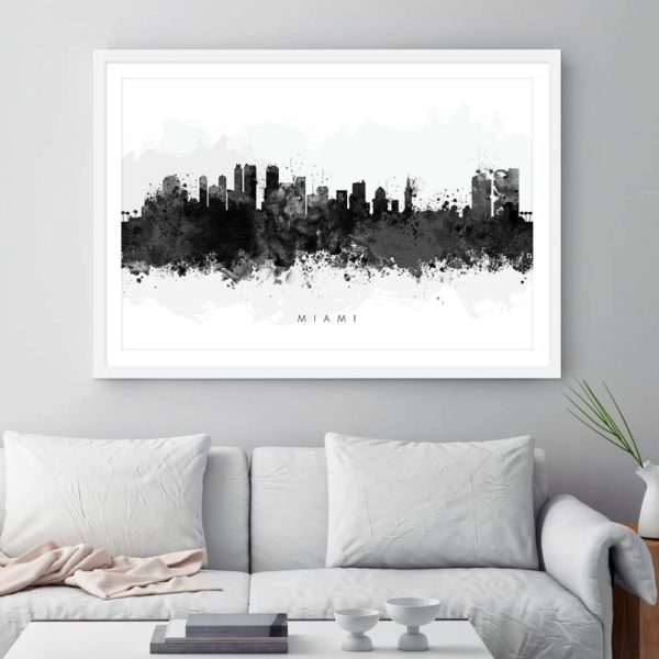 miami skyline black white watercolor print framed