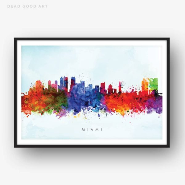 miami skyline blue wash watercolor print