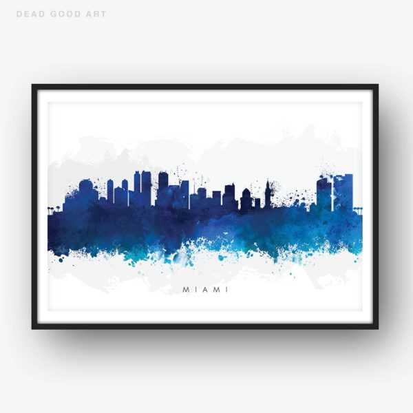 miami skyline blue watercolor print