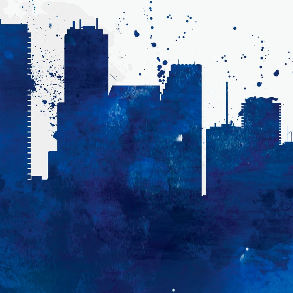 miami skyline blue watercolor print detail