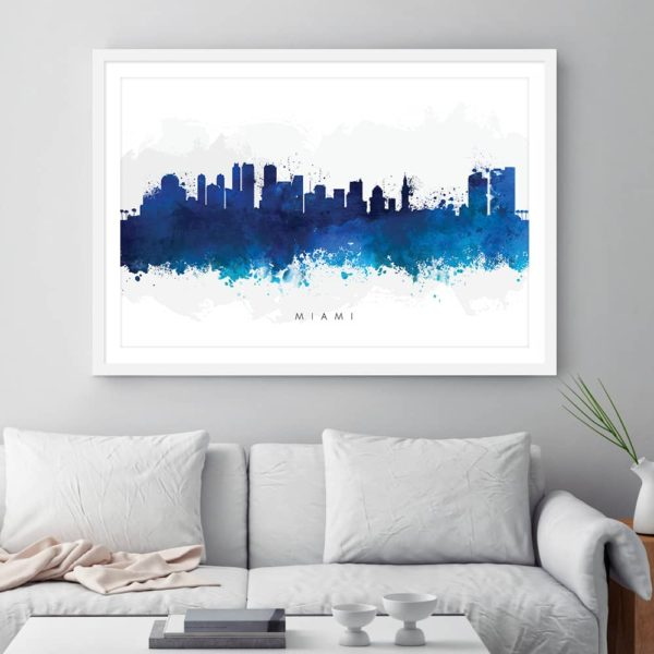 miami skyline blue watercolor print framed