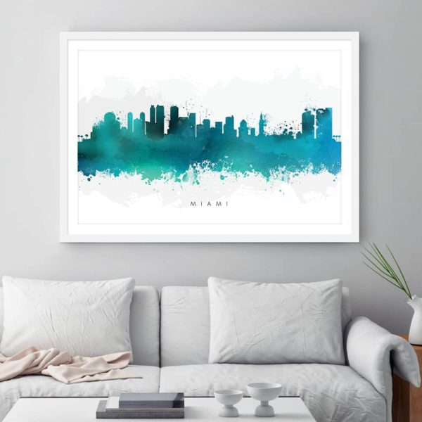 miami skyline green watercolor print framed