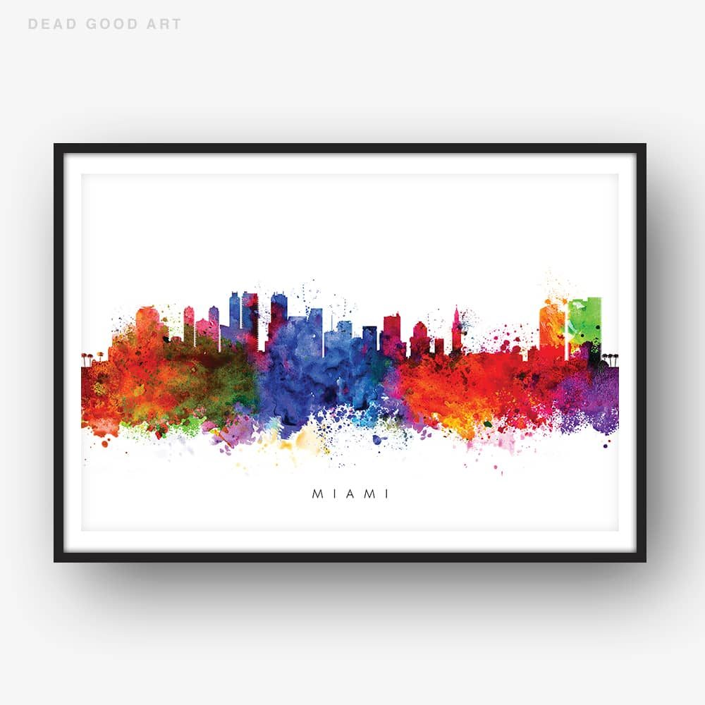 miami skyline multi color watercolor print