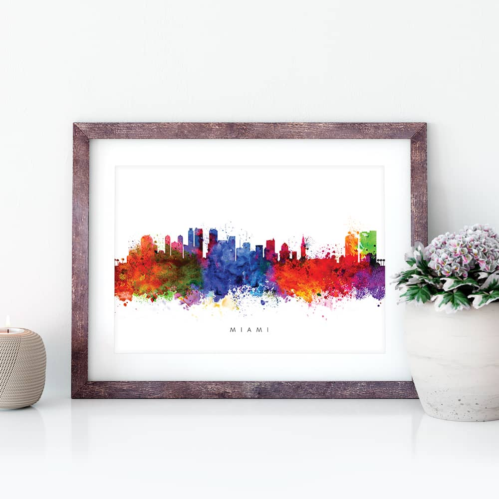miami skyline multi color watercolor print closeup 1