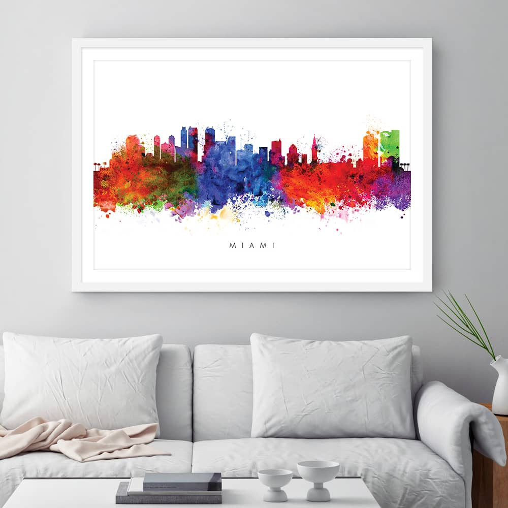 miami skyline multi color watercolor print framed
