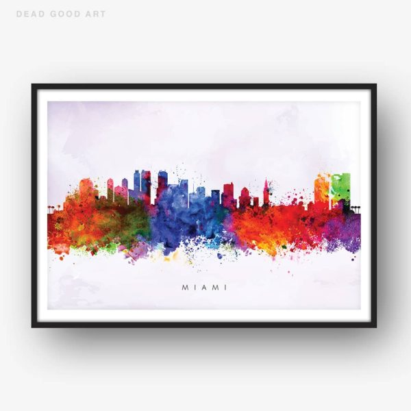 miami skyline purple wash watercolor print
