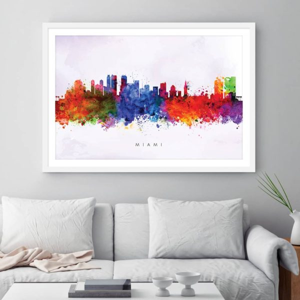 miami skyline purple wash watercolor print framed