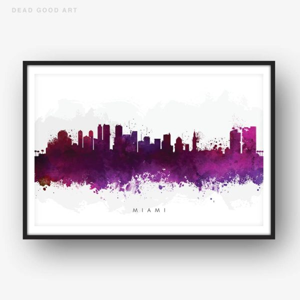 miami skyline purple watercolor print