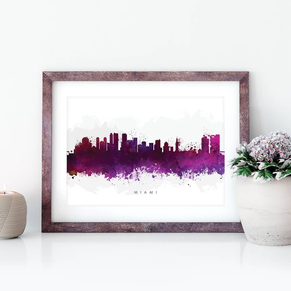miami skyline purple watercolor print closeup