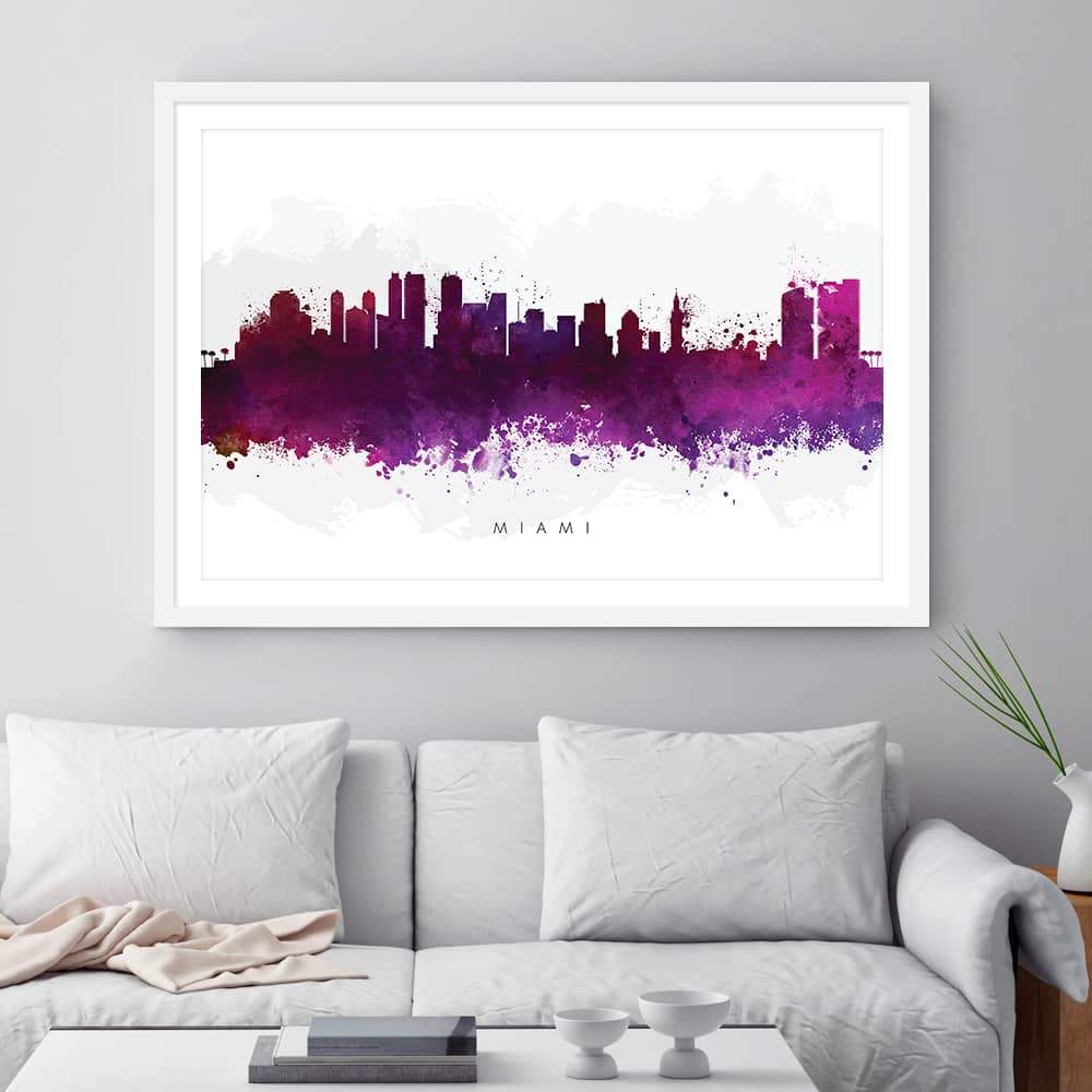miami skyline purple watercolor print framed