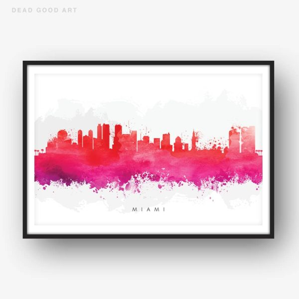 miami skyline red watercolor print