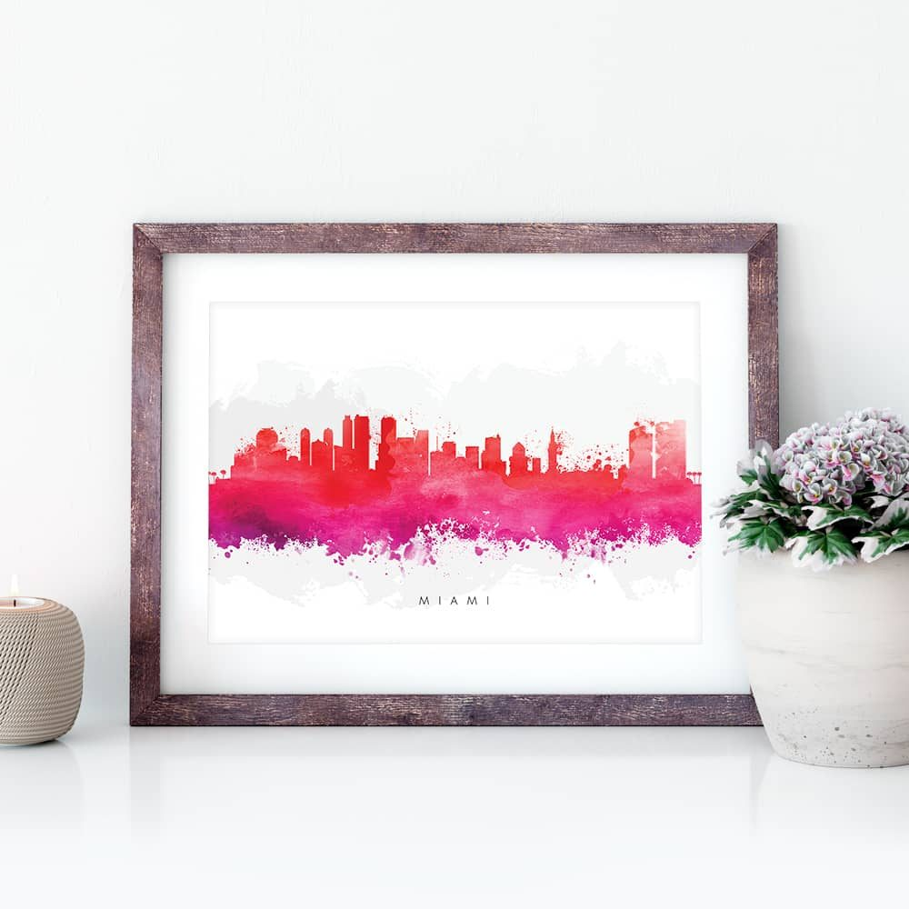 miami skyline red watercolor print closeup