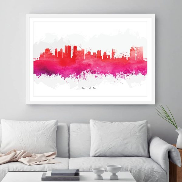 miami skyline red watercolor print framed