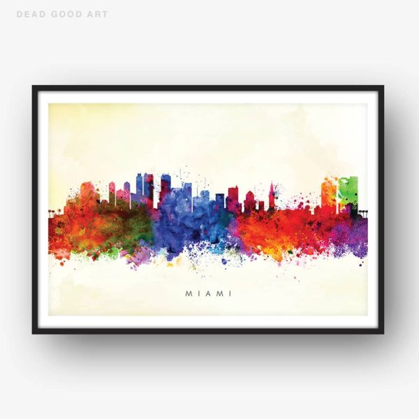 miami skyline yellow wash watercolor print