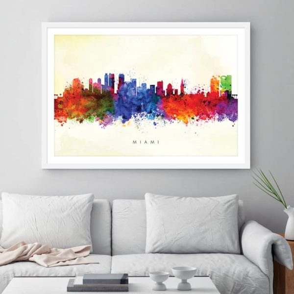 miami skyline yellow wash watercolor print framed