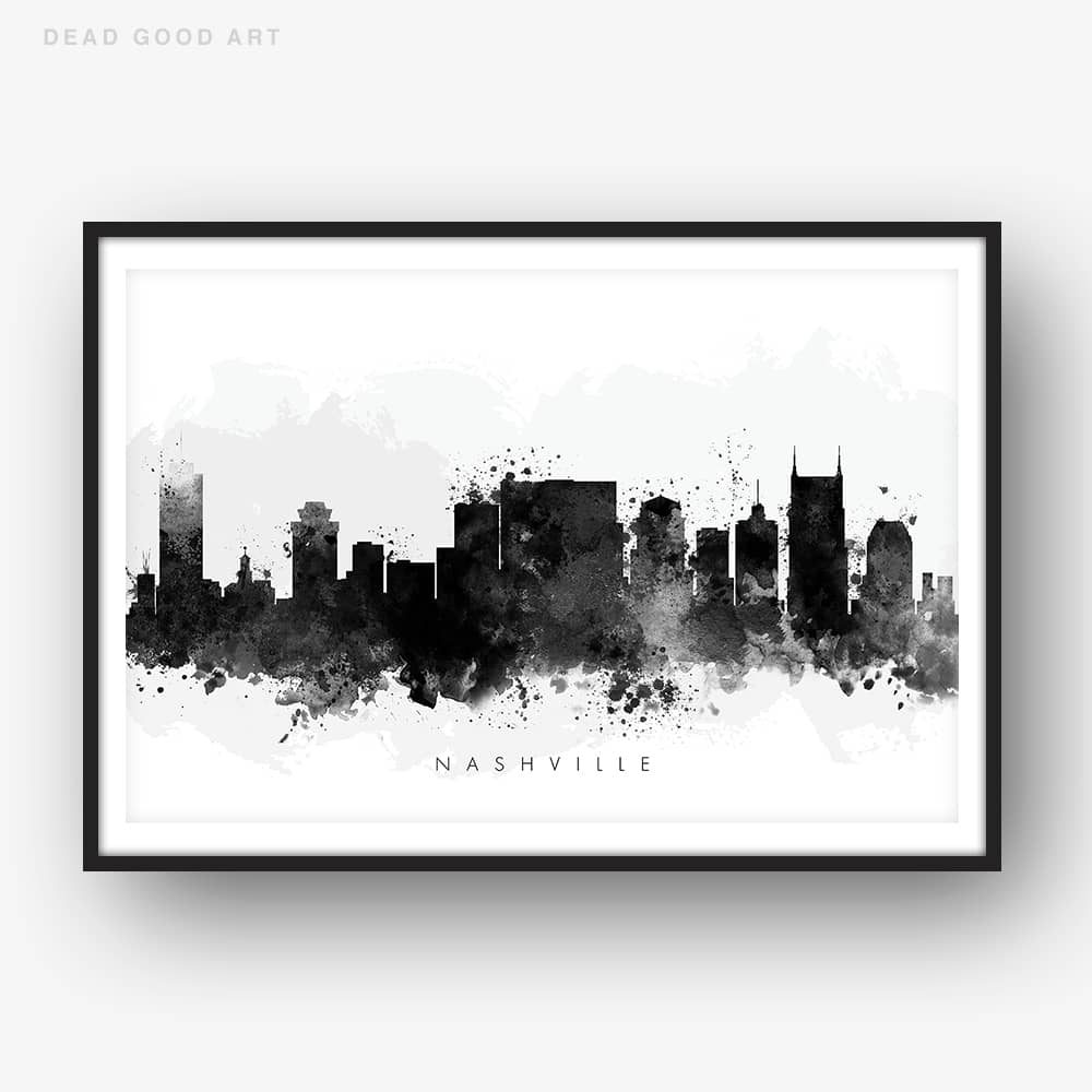 nashville skyline black white watercolor print