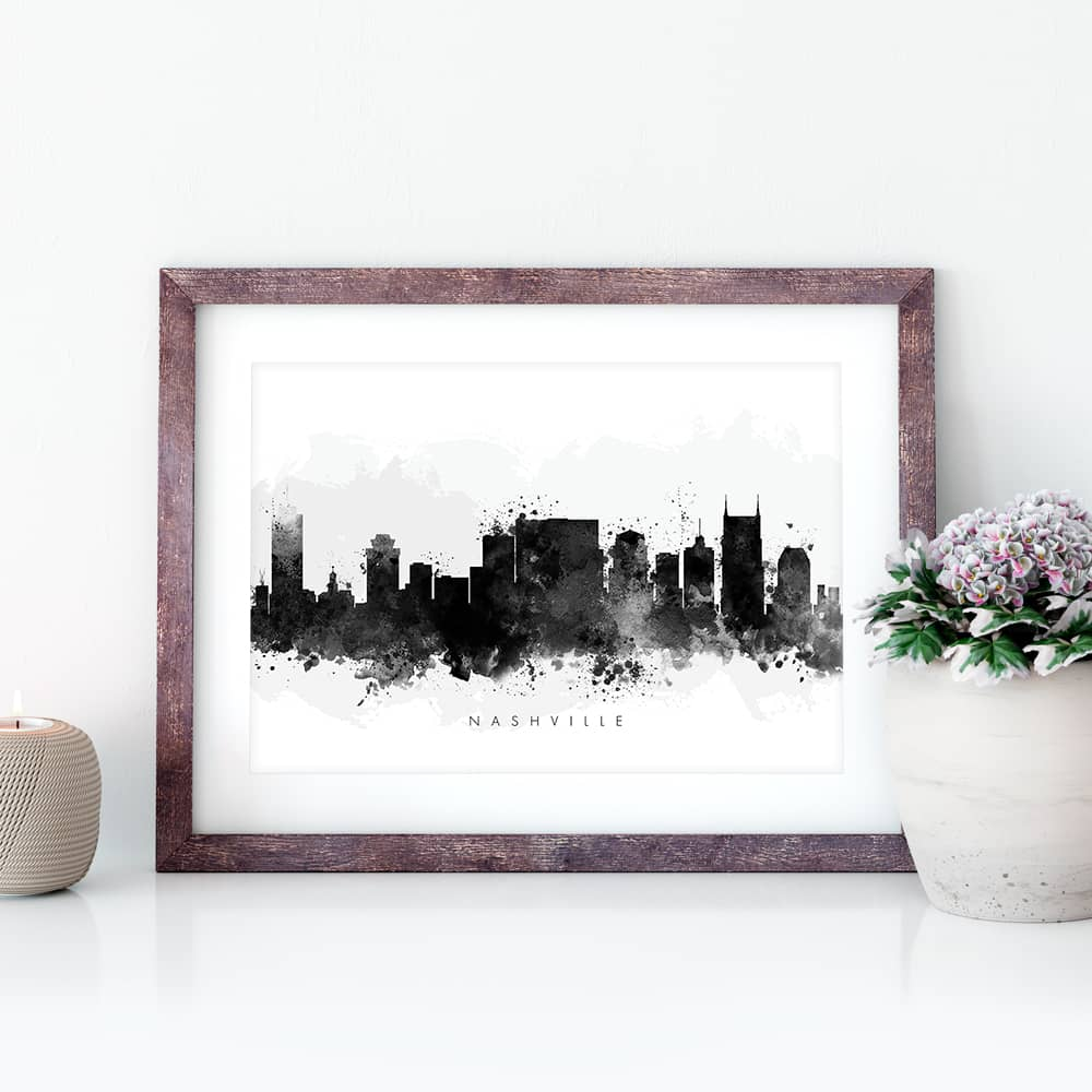 nashville skyline black white watercolor print closeup