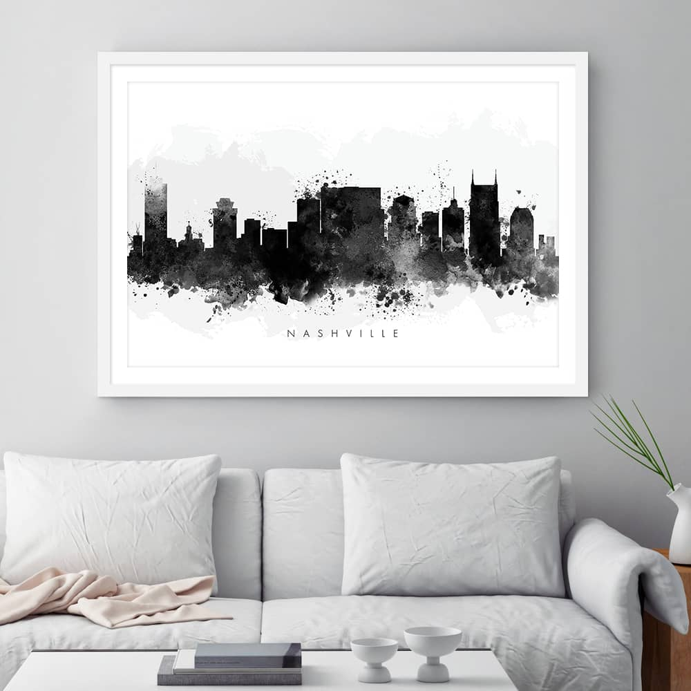 nashville skyline black white watercolor print framed