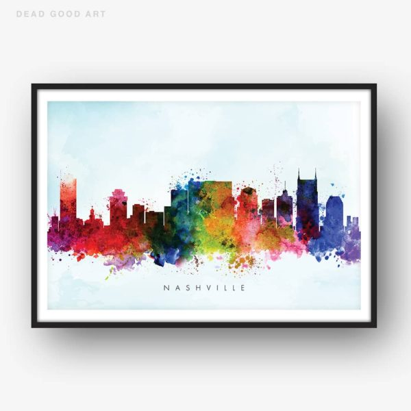 nashville skyline blue wash watercolor print