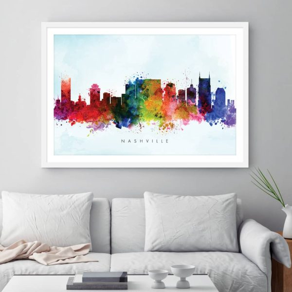 nashville skyline blue wash watercolor print framed
