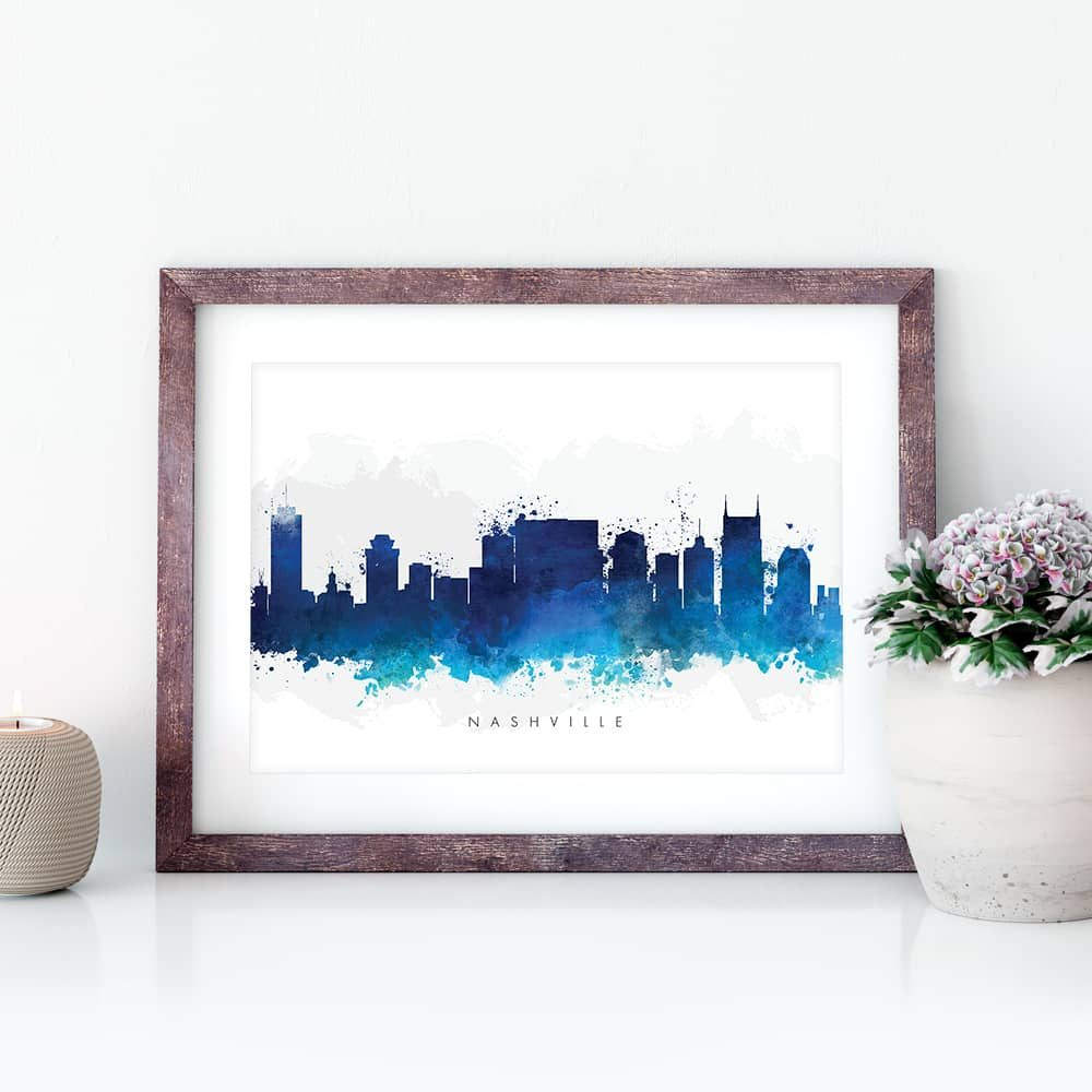 nashville skyline blue watercolor print closeup
